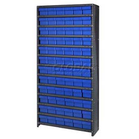 Quantum CL1875-602 Closed Shelving Euro Drawer Unit - 36x18x75 - 72 Euro Drawers Blue