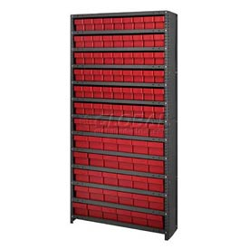 Quantum CL1875-624 Closed Shelving Euro Drawer Unit - 36x18x75 - 90 Euro Drawers Red