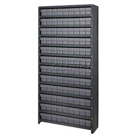 Quantum CL1875-604 Closed Shelving Euro Drawer Unit - 36x18x75 - 108 Euro Drawers Gray
