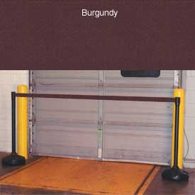 """Economic 49-1/2"""" Black Poly Post with 87"""" Retractable Tape Burgundy"""