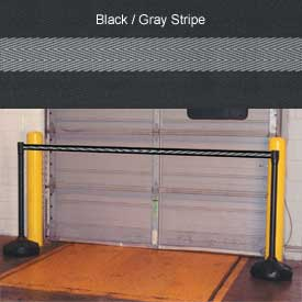 "Economic 49-1/2"" Black Poly Post with 87"" Retractable Tape Black/Gray"