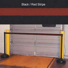 "Economic 49-1/2"" Black Poly Post with 87"" Retractable Tape Black/Red"