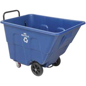 Blue Recycling Tilt Truck 1/2 Cubic Yard and 750 Lb. Capacity