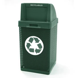 Recycling Trash Can with Push Door Lid & Logo - Green