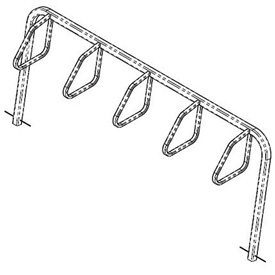 5-Bike City Bicycle Rack, Single Sided, Below Grade Mount