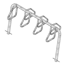 7-Bike City Bicycle Rack, Double Sided, Below Grade Mount