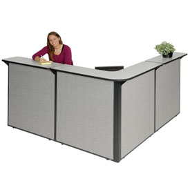"L-Shaped Reception Station, 80""W x 80""D x 44""H, Gray Counter, Gray Panel"