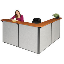 "L-Shaped Reception Station, 80""W x 80""D x 44""H, Cherry Counter, Gray Panel"