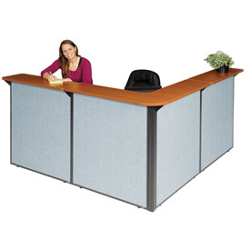 "Interion™ L-Shaped Reception Station, 80""W x 80""D x 44""H, Cherry Counter, Blue Panel"
