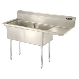 "Two Bowl Aerospec SS NSF Sink with 36""W Right Drainboard - 16""Wx21""D"