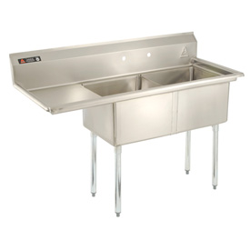 "Two Bowl Aerospec SS NSF Sink with 36""W Left Drainboard - 16""Wx21""D"