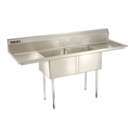 "Two Bowl Aerospec SS NSF Sink with two 18'W Drainboards - 24""Wx24""D"