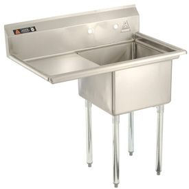 "One Bowl Economy SS NSF Sink with 24""W Left Drainboard - 20""Wx30""D"