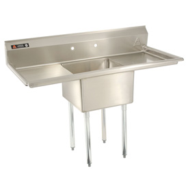 "One Bowl Economy SS NSF Sink with two 30""W Drainboards - 20""Wx20""D"