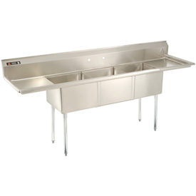 "Three Bowl Economy SS NSF Sink with two 24""W Drainboards - 16""Wx21""D"
