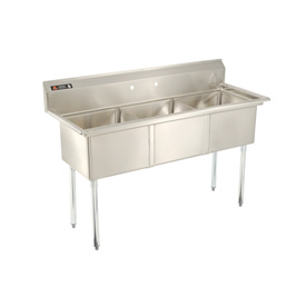 Deluxe SS Non-NSF Three Bowl Sink - 12 x 18