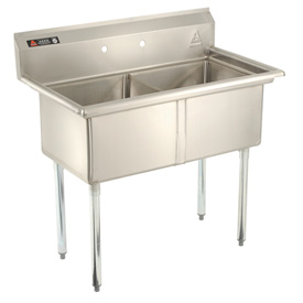 Deluxe SS Non-NSF Two Bowl Sink - 18 x 24