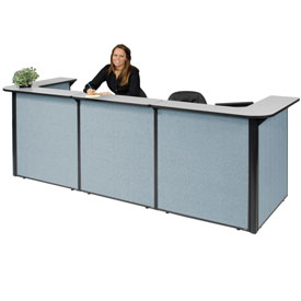 "Interion™ U-Shaped Reception Station, 124""W x 44""D x 44""H, Gray counter, Blue Panel"