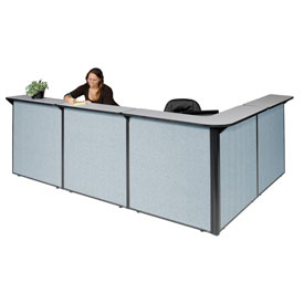 "L-Shaped Reception Station, 116""W x 80""D x 44""H, Gray Counter, Blue Panel"
