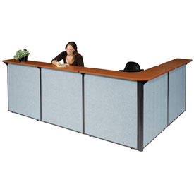 "L-Shaped Reception Station, 116""W x 80""D x 44""H, Cherry Counter, Blue Panel"