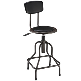 Industrial Stool With Backrest - Vinyl - Black
