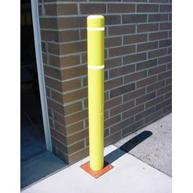 "4""x 52"" Bollard Cover - Yellow Cover/White Tapes"