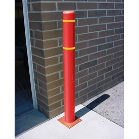 "4""x 52"" Bollard Cover - Red Cover/Yellow Tapes"