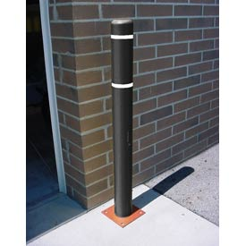 "7""x 52"" Bollard Cover - Black Cover/White Tapes"