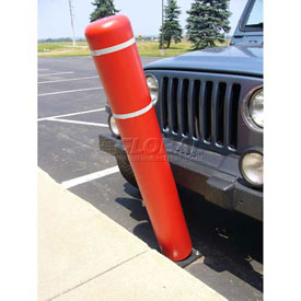 "72""H FlexBollard™ - Natural Ground Installation - Red Cover/White Tapes"