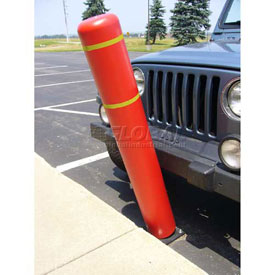 "72""H FlexBollard™ - Natural Ground Installation - Red Cover/Yellow Tapes"