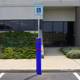"52""H FlexBollard™ with 8""H Sign Post - Concrete Installation - Blue Cover/Red Tapes"