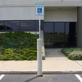 "52""H FlexBollard™ with 8""H Sign Post - Asphalt Installation - White Cover/Yellow Tapes"