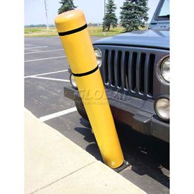 "52""H FlexBollard™ with 8""H Sign Post - Natural Ground Installation - Yellow Cover/Black Tapes"