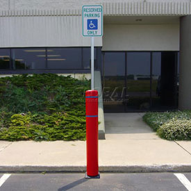 "52""H FlexBollard™ with 8""H Sign Post - Natural Ground Installation - Red Cover/Blue Tapes"