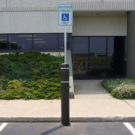 "52""H FlexBollard™ with 8""H Sign Post - Natural Ground Installation - Black Cover/White Tapes"