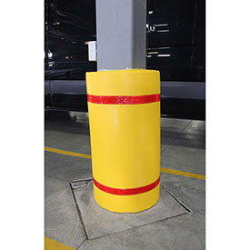 "44""H x 72""W Soft Nylon Column Protector - Yellow Cover/Red Tapes"