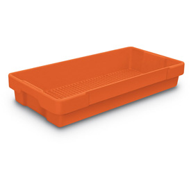 "Plastic Utility Tray Orange 26"" L X 12-1/2"" W X 4-1/2 H - Pkg Qty 5"