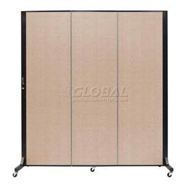 Screenflex 3 Panel Mobile Room Divider - Fabric Color: Tan