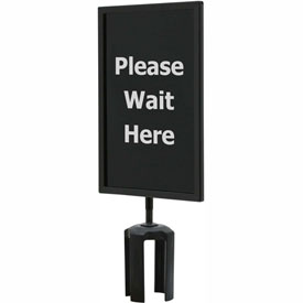 "Tensator Queueway Black 7""x11"" 1/4"" Acrylic Sign - Please Wait Here (Single Side)"