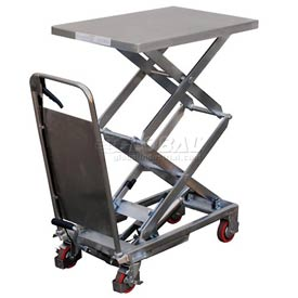 Vestil Stainless Steel Mobile Scissor Lift Table CART-800-D-PSS 800 Lb. Capacity