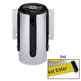 Tensabarrier Satin Chrome Mini Wall Mount 7.5'L Black/Yellow Caution-Do Not Enter