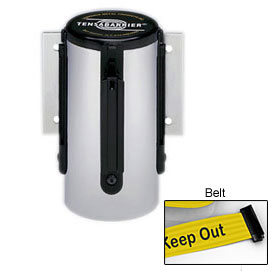 Tensabarrier Pol Chrome Mini Wall Mount 13'L BLK/YLW Danger-Keep Out Retractable Belt Barrier