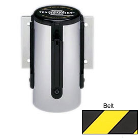 Tensabarrier Satin Chrome Mini Wall Mount 13'L Black/Yellow Chevron Retractable Belt Barrier