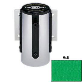 Tensabarrier Pol Chrome Mini Wall Mount 7.5'L Green Retractable Belt Barrier