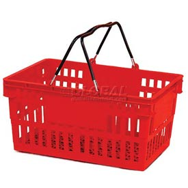 VersaCart ® Red Plastic Shopping Basket 26 Liter With Black Plastic Grips Wire Handle - Pkg Qty 12