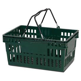 VersaCart ® Green Plastic Shopping Basket 26 Liter With Black Plastic Grips Wire Handle - Pkg Qty 12
