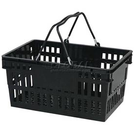 VersaCart ® Black Plastic Shopping Basket 26 Liter With Black Plastic Grips Wire Handle
