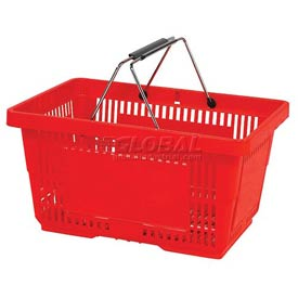 VersaCart ® Red Plastic Shopping Basket 28 Liter With Black Plastic Grips Wire Handle - Pkg Qty 12