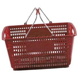 VersaCart ® Red Plastic Shopping Basket 30 Liter With Black Plastic Grips Wire Handle