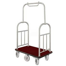Glaro Ball Top Bellman Cart 48x25 Satin Aluminum Burgundy Carpet, 6 Pneumatic Wheels